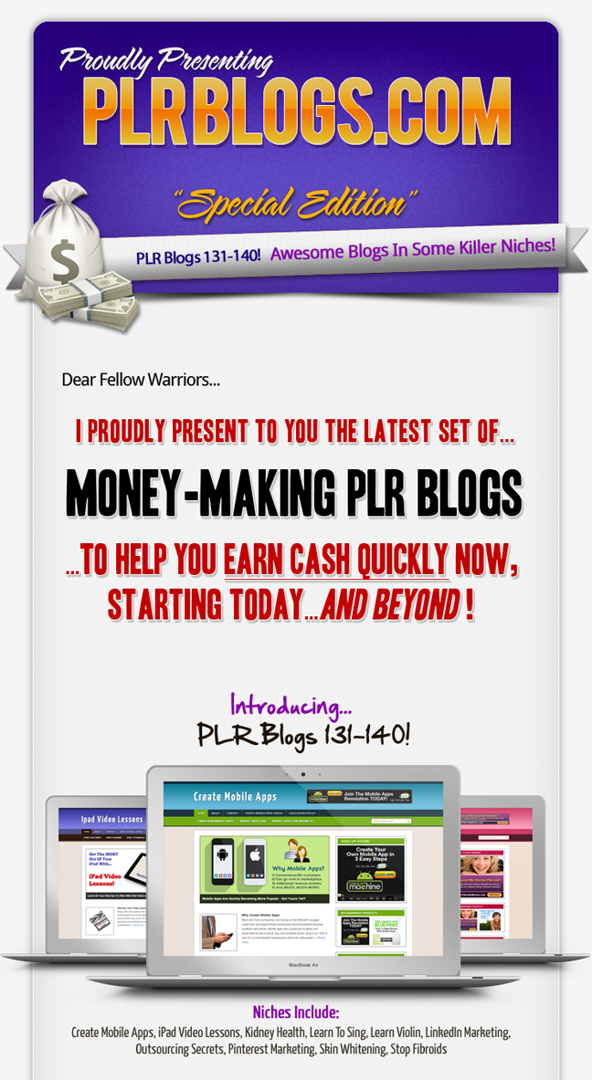 PLR Ready-To-Earn Niche Blogs 131-140 - May 2013